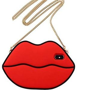 iPhone X case red lip with chain new